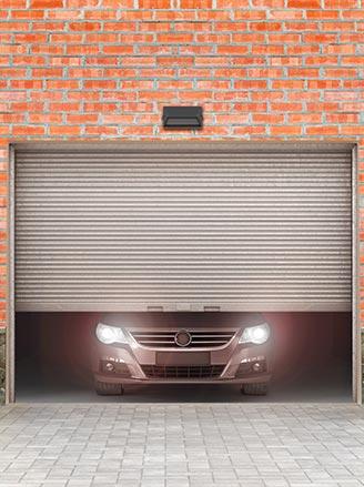 brick building garage opening